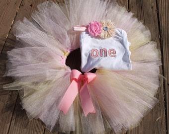 Gold & Pink Birthday Tutu Set- any age