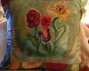 Hand Painted Pillow of Flowers by Nancy