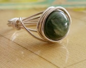 Seraphinite Ring, Argentium Silver Wire Wrapped Ring, Green Gemstone Jewelry