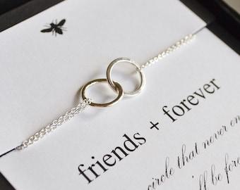 Sterling Silver Entwined Rings Eternity Bracelet....Sister, Friend, Bridesmaid,