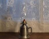 Vintage Shuler quality pewter oil lamp kerosene lamp primitive lighting