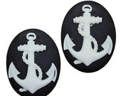 2 pieces Gothic Steampunk Anchor Nautical Pirate Sea Rope Vintage Retro Cameo Cabochon White on Black set 25x18 mm resin
