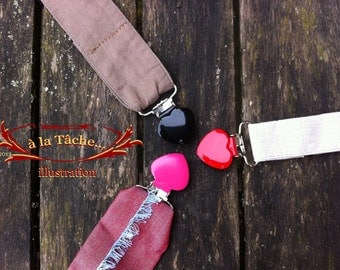 Heart Clips for changeable handles, Red, White or Black