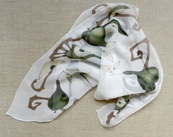 Green abstract pears silk scarf. Hand painted Pears. Hand painted silk scarf. Made to order!