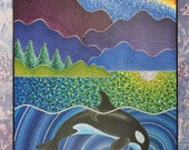 Colorful Print Laminated on woodblock-Orca Sonic Love