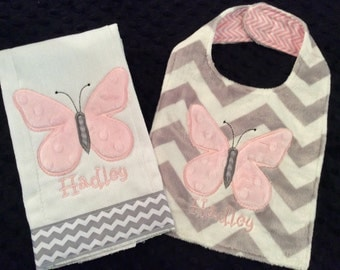 Butterfly Burp and Bib Set/Butterfly Bib/Butterfly Burp cloth/butterfly/pink butterfly bib/butterfly burp/girls butterfly bib/newborn bib