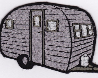 Vintage Canned Ham Trailer Embroidery Applique Patch