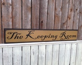 Keeping Room Colonial Style Primitive Distressed Sign Routed Edge 6x35