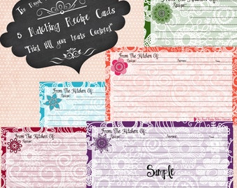 Digital Doodle Flowers  Recipe Cards Set of 5 Cards ~