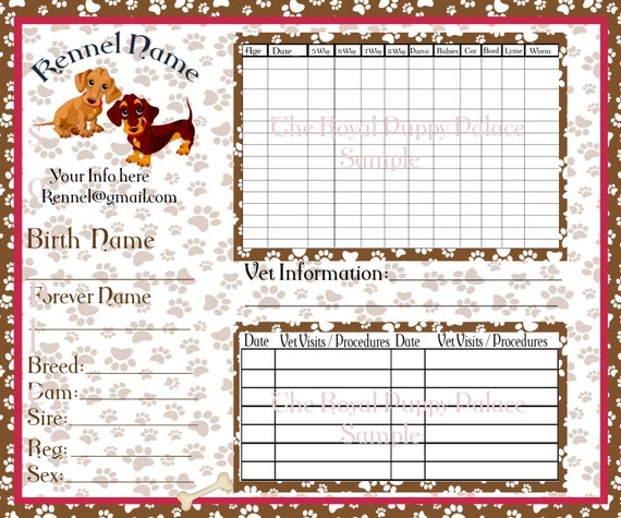 dog health record template - printed dachshund customizable vaccination cards for dog