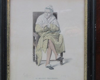 Le Malade Imaginare  19th century print signed by Edmond A. F. Geffroy.