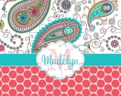 Paisley & Polka Dots Personalized Jigsaw Puzzle - 12 or 100 pieces