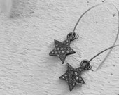 Pave Diamond Earrings Pave Star Diamond Dangle Earrings Small Star Drop Earrings