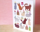 Party Cats - Greeting card designed with Japanese paper collage