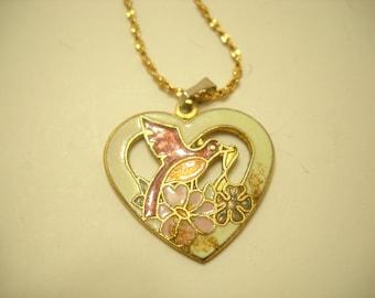 """Vintage Cloisonne Heart Pendant (5130) 22KGL 30"""" Rope Chain"""