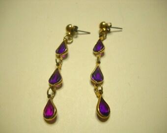 "Vintage Dark Amethsyt Crystal Teardrop Dangle Pierced Earrings (5591) 2 1/4"" Long"