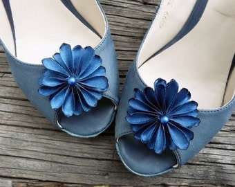 Blue Bridesmaid Gift, Satin Shoe Accessory, Party Shoe Pins, Navy Blue Shoe Clip, Special Occasion Shoe Clips
