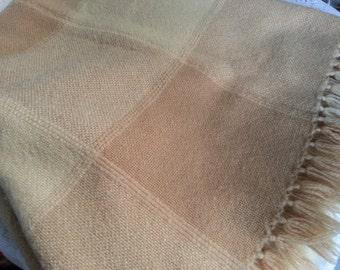Beautiful Handwoven Wool  Plaid Throw, The Three Weavers