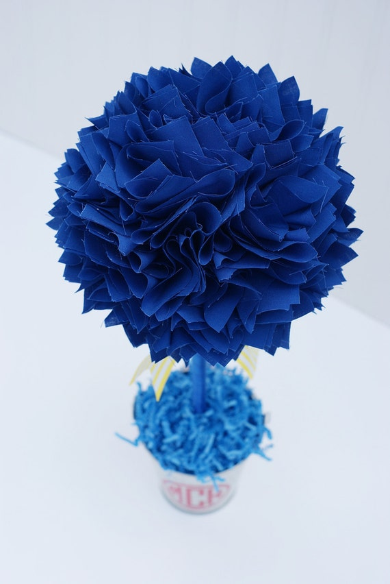 Royal blue centerpiece topiary birthday party