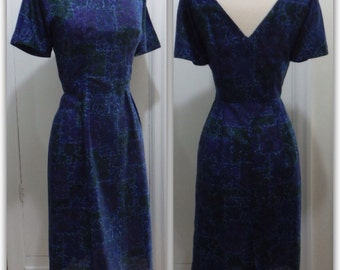 Sweet and Sexy Lightweight Vintage 1950s Cocktail Dress / Blue Paisley Floral / Small