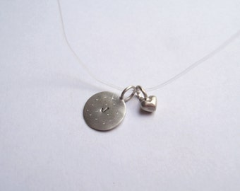 Initial Love necklace with Celestial finish in Sterling Silver