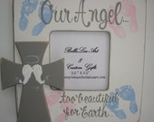 Memorial cross picture frame for ultrasound photo handpainted