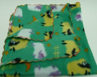 Blanket for Small Puppy, Tiny Dog Blanket in Green with Yellow and White Sheep
