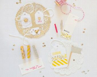 SALE Mini Gift Wrap Kit Yellow Silver Pink Paper Kit