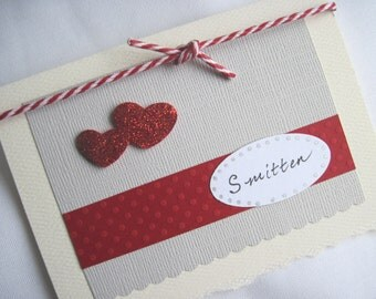 Smitten Valentine's Day Card with Glitter Hearts and Red & White Baker's Twine, 3 1/2 x 5