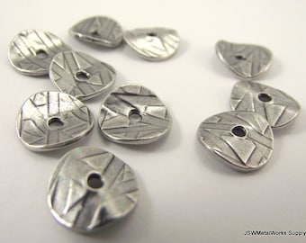 Wavy Antiqued Silver Rondelles, Spacer Beads, Abstract Textured Wavy Rondelle, 10 x 2 mm, 10 Pieces