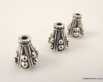 10 Decorative Dot Small Bead Cones, End Cones, End Cap, 10 x 9 mm