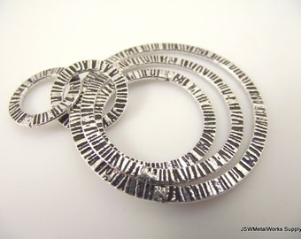 Loopy Antiqued Silver Pendant, Large Focal Pendant, 51 x 41 mm