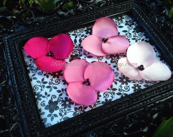 Pink Ombre Poppy Pins / Hair Pins / Flower Bobby Pins