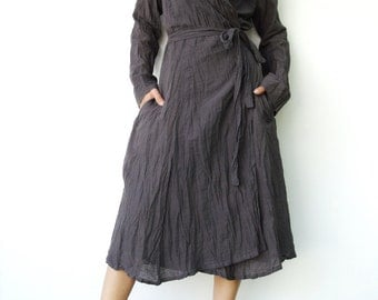 NO.87    Gray Cotton Crinkle Warp Dress, Long Sleeves Cardigan, Day Dress