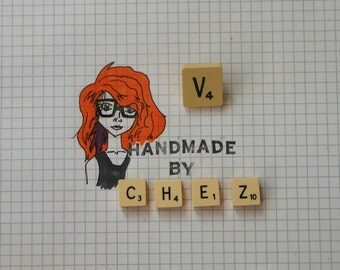 V Scrabble Tile Pin