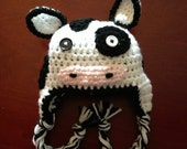 Cow Hat in Soft Acrylic Yarn - Fashioned after Chick-Fil-A cow!