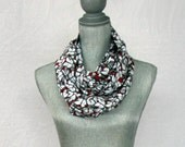 Black White and Red Butterflies Eternity Loop Cotton Scarf  with Hidden Pocket