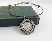 Deluxe Mercury Dime, Winged Liberty Head Dime, Good Luck Charm, Adjustable Leather Cord, Mercury Dime pendant, (N15-207)