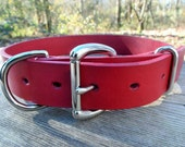 Classic Red Leather Dog Collar - Plain Red Collar - Red Dog Collar - Large Dog Collar