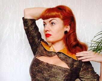 50's Repro Handmade WIGGLE PENCIL DRESS Rockabilly Viva Las Vegas