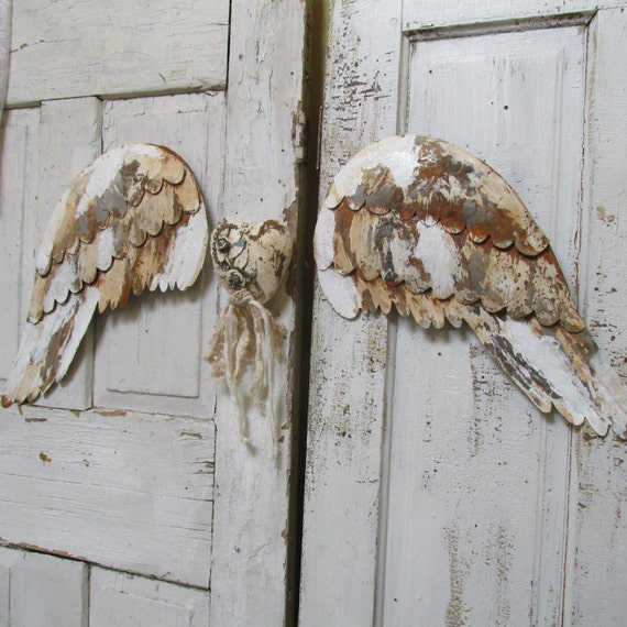 Distressed Metal Wall Decor : Distressed rusty metal angel wings wall decor by