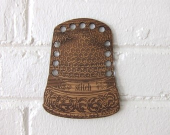 Wooden Embroidery Floss Organizer Thread Holder - Thimble
