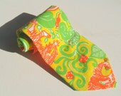 Vintage 1970s Yellow and Green Owls and Monkeys Tie