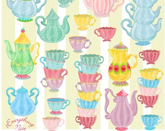 Teapots and Teacups Clipart Set