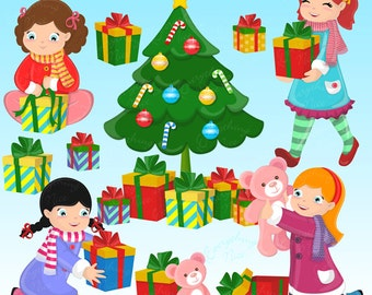 Opening Gifts Clipart Set