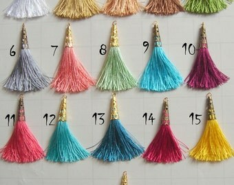Silk Tassel Charms, Set of 5 Tassels, Jewelry Making Tassels, Handmade Tassels