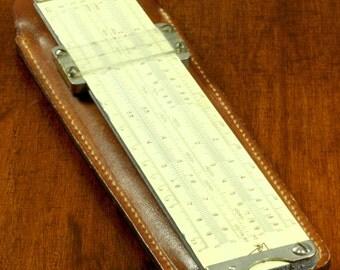 Vintage Pickett & Eckel Metal Pocket Size Drafting Architect Engineering Ruler In Brown Leather Sleeve/Case