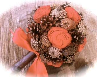 Red Sola Flowers Pine Cone Bouquet Alternative Bridal Flowers Rustic Winter Weddings