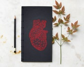 Anatomical Heart Notebook. Red Heart Anatomy. Embroidered  Japanese Notebook. Valentine's . Science Art Journal. Men's Book. Love Journal