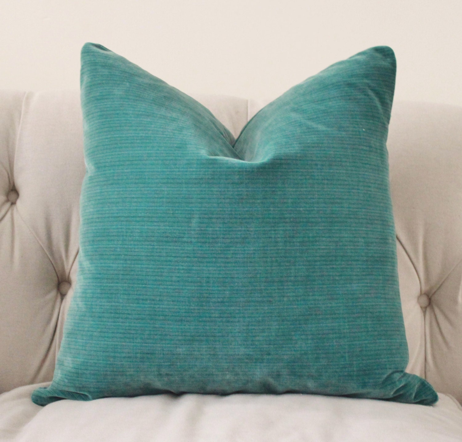 Decorative Teal Pillow Peacock Throw Pillow Velvet Stripe